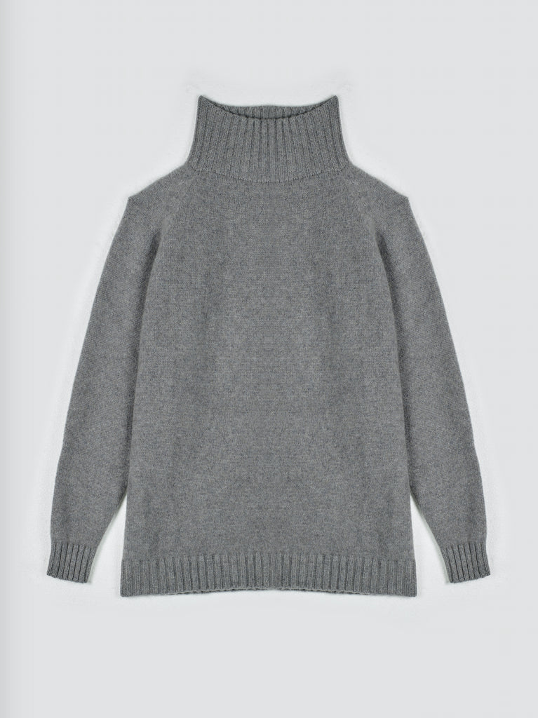 The Elder Statesman AW19 Turtleneck Cashmere Sweater Light Grey