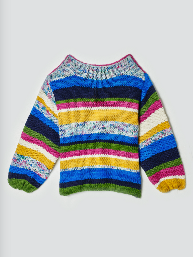 The Elder Statesman Striped Balloon Sleeve Cashmere Sweater