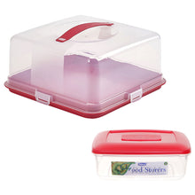 Whitefurze Plastic 33 x 33 cm Square Cake Box + 4L Food Storage Box Set Red