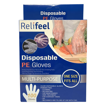 100 Relifeel Multi-Purpose Clear Disposable PE Plastic Safety Gloves One Size