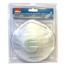 Hilka 3 Piece Moulded Valved Disposable Respirator Dust Protection Face Mask FFP1