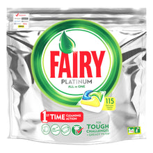 Fairy Platinum All In One 115 Dishwasher Capsules Lemon First Time Action Cleaning