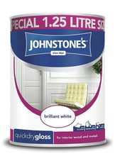 Johnstone's Quick Dry Paint Special 1.25L Size - Brilliant White - Gloss