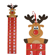 Theme Machine Hanging Advent Calendar Felt Elf Rudolph 24 Pockets Christmas