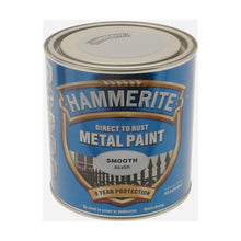 Hammerite Metal Paint 1L Smooth Silver Finish Anti Corrosion Rust