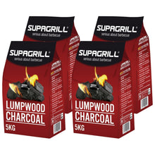 Supagrill Lumpwood Charcoal 20KG Hardwood Easy Light BBQ Barbeque Grill 4 x 5kg