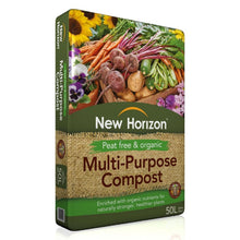New Horizon Peat Free & Organic Multi Purpose Compost 50L Organic Nutrients Soil