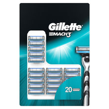 Gillette Mach3 20 Pack Razor Blade Cartridges Mens Shaving Grooming Refills