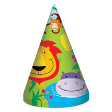 Fun Machine Jungle Party Hats 8 Pack Childrens Birthday Celebration Decoration Animal Theme