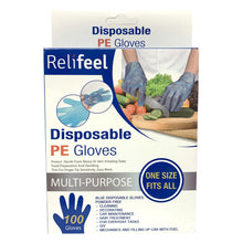 Relifeel Disposable Plastic Gloves 100 or 500 Clear Blue Multi Purpose Powder Free One Size