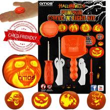 AMOS Halloween Pumpkin Carving Kit 16 Designs + 5 Tools + LED Light