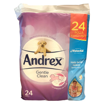 Andrex Gentle Clean - 24 Rolls Loo Toilet Paper Family Pack Puppies On Roll