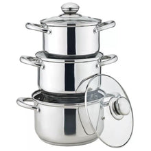 Royal Cuisine 24cm 26cm 28cm Stock Pot Induction Stainless Steel Pan Set + Lids