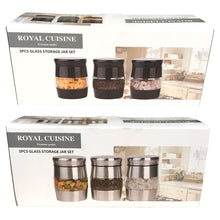 Royal Cuisine 3pc Glass Storage Jar Set Black Silver Store Tea Coffee Sugar Food Ingredients