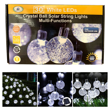 30 White LED Solar Crystal Ball String Lights Outdoor Garden Solar Power 7.8m
