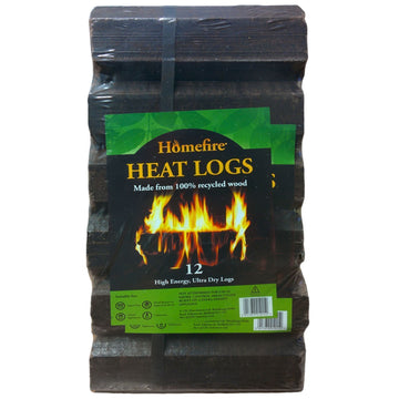 12 or 24 x Homefire High Energy Ultra Dry Heat Logs Eco Wood Open Fire Log Fuel