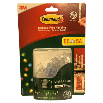 3M Command Indoor Outdoor 50 Light Clips 56 Strips Damage Free Hanging Wire Clips