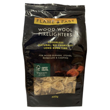 Flamefast Wood Wool Firelighters 400g Natural Odourless Fast Lighting For Fires BBQs Stoves