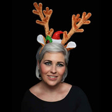 Theme Machine Christmas Velvet Reindeer Antlers Deluxe Headband Jingle Bell