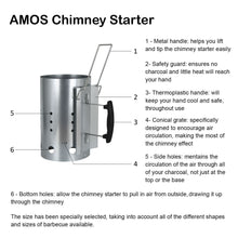 AMOS Barbecue BBQ Chimney Starter Charcoal Grill Steel Rapid Quick Fire Lighter