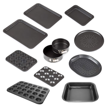 AMOS 10-Piece Carbon Steel Baking Trays Set Non-Stick Oven Cookie Sheets Pizza Roasting Muffin Tins