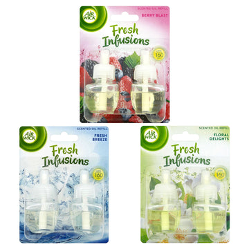 Air Wick Fresh Infusions 2 x 19ml Plug In Scented Oil Refills Air Freshener - Berry Blast / Floral Delights / Fresh Breeze