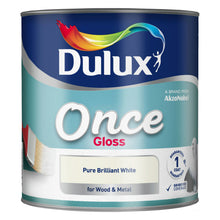Dulux Once Gloss Pure Brilliant White 2.5L Wood Metal Paint One Coat Guaranteed
