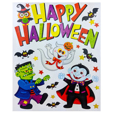 Halloween Window Cling Stickers Reusable Self Adhesive Decoration Witch Pumpkin