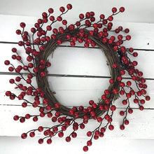 45cm Wicker & Red Cherry Berry Wreath Traditional Christmas Festive Hanging Decoration