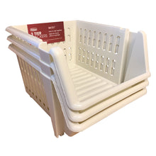 Whitefurze 18cm Cream 3 Tier Stacking Basket Set Home Office Plastic Storage