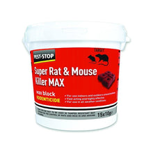 Pest-Stop Super Rat and Mouse Killer Max 15 x 10g Wax Blocks Rodenticide