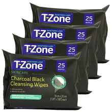 Newtons Labs T-Zone Skincare Charcoal Black Cleansing Wipes - 25 Wipes