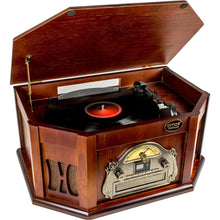 AMOS Vintage Wooden Turntable Retro Vinyl CD Record Cassette USB MP3 Player