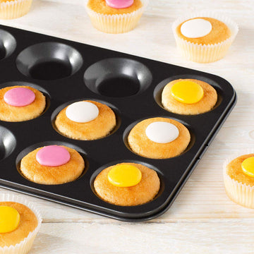 Essentials by Prochef 12 Cup Bun Sheet Cupcake Muffin Tray Non-Stick Oven Dishwasher Safe