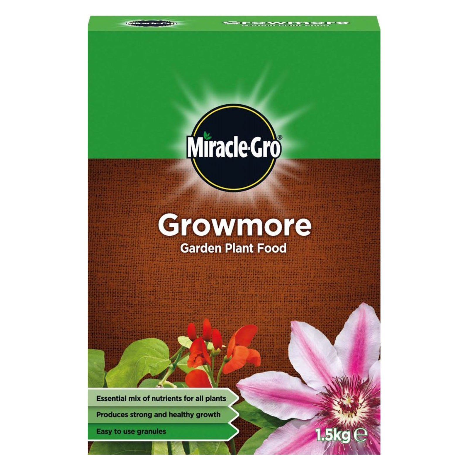 Miracle-Gro Growmore Garden Plant Food Granules 1.5kg Strong Healthy Growth