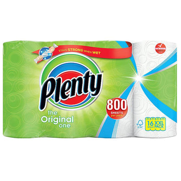16 x Plenty Kitchen Roll The Original One 100 Sheet Longer Lasting Paper Towels