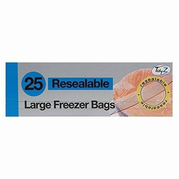 25 Large Slide Zip Fridge Freezer Bags Food Strong Resealable 25cm
