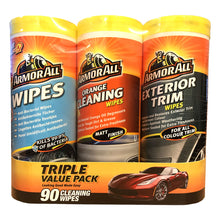 Armor All 3 Pack 90 Car Cleaning Wipes Anti-Bacterial Orange Dashboard Exterior
