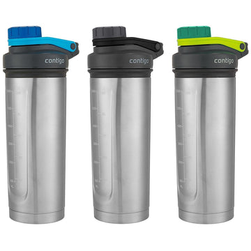 2 x Contigo Shake & Go Thermalock Insulated Protein Shaker Mixing Bottles 709ml