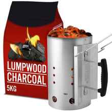 AMOS 2.8kg Chimney Starter BBQ Barbecue Grill Lighter + 5kg Lumpwood Charcoal