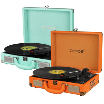 AMOS Vintage Suitcase Briefcase Turntable Portable Record Player Vinyl USB MP3