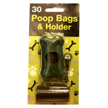 TidyZ 30 Poop Bags & Holder Tie Handles Dog Poo Waste Bags Clip On Dispenser
