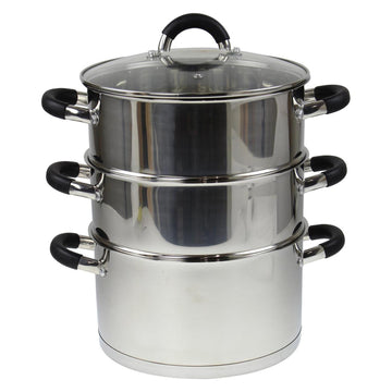 AMOS 3-Tier 24cm Stainless Steel Dishwasher Safe Induction Steamer Pot Set + Lid