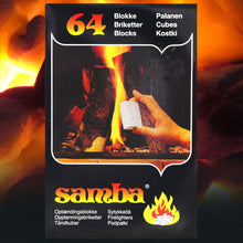 Samba Firelighters Cubes 64 Pack Stove Fire Starter BBQ Burner Fuel Blocks