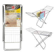 Gimi Jolly Silver Clothes Laundry Airer Dryer Foldable Indoor Metal Rack