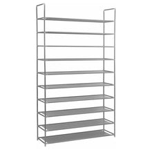 AMOS 10 Tier Extendable Shoe Rack 50 Pairs Space Saving Storage Organiser Shelf