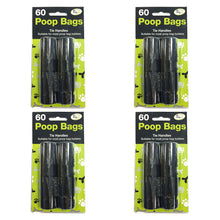 60 Tie Handle Poop Bags For Bag Holders Dispensers Dog Poo Waste Bags