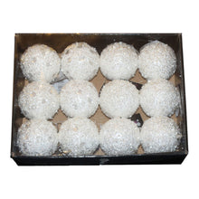 Theme Machine 8cm Sequin & Crystal Bauble White 12 Pack Christmas Decoration