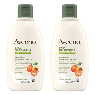 Aveeno Daily Moisturising Yogurt Body Wash Apricot Honey Scent 300ml - 2 Pack
