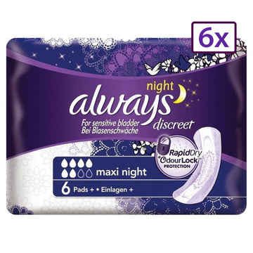 Always Discreet Maxi Night 6 x 6 Pads Incontinence Sensitive Bladder